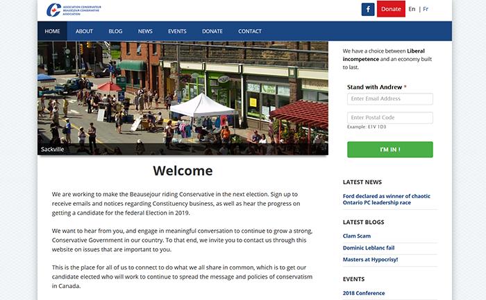 Conservative party desktop view